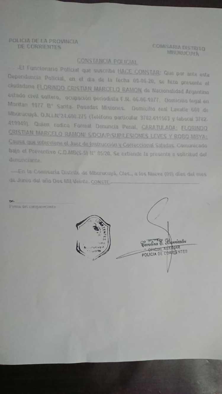 La denuncia policial del periodista contra el intendente radical.